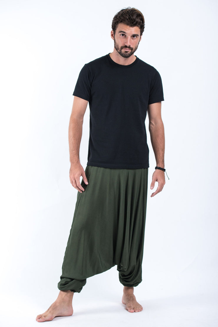 Unisex Solid Color Drop Crotch Drop Crotch Jumpsuit Harem Pants in Dark Green