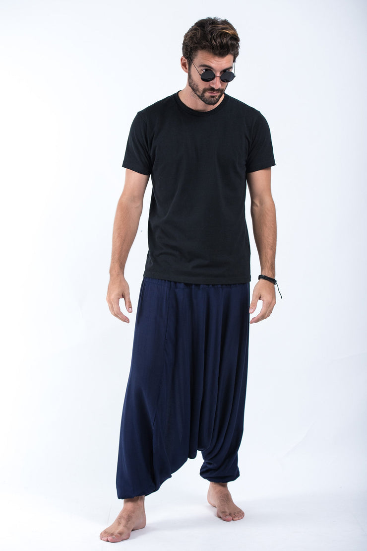 Unisex Solid Color Drop Crotch Drop Crotch Jumpsuit Harem Pants in Blue