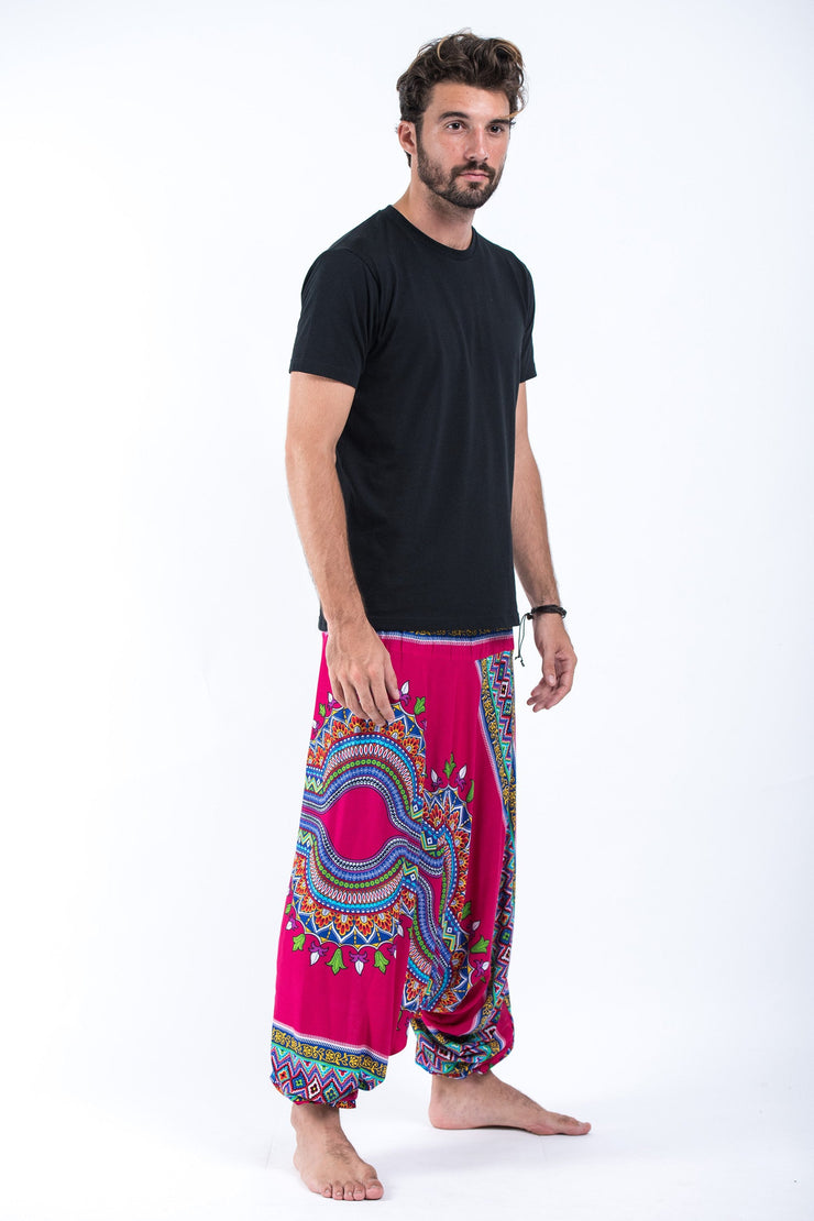 Unisex Dashiki Prints Drop Crotch Jumpsuit Harem Pants in Pink