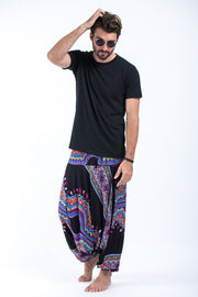 Unisex Dashiki Prints Drop Crotch Jumpsuit Harem Pants in Black