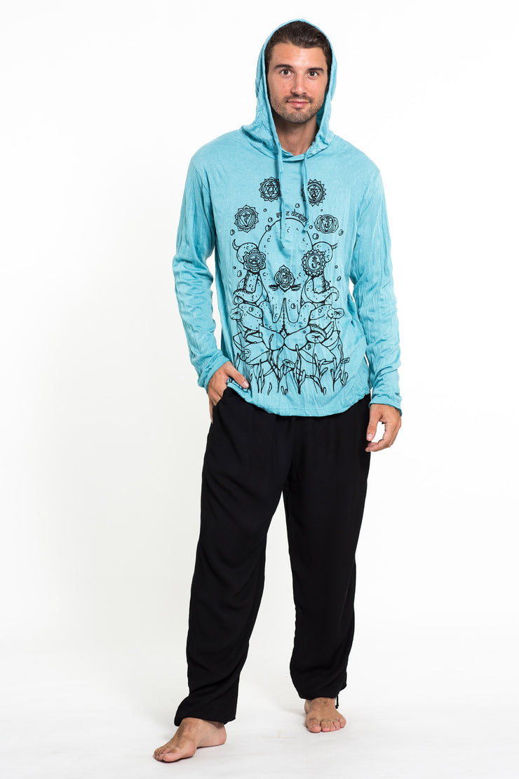 Unisex Octopus Chakras Hoodie in Turquoise