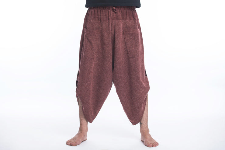 Unisex Stone Washed Large Pockets Harem Pants in Maroon