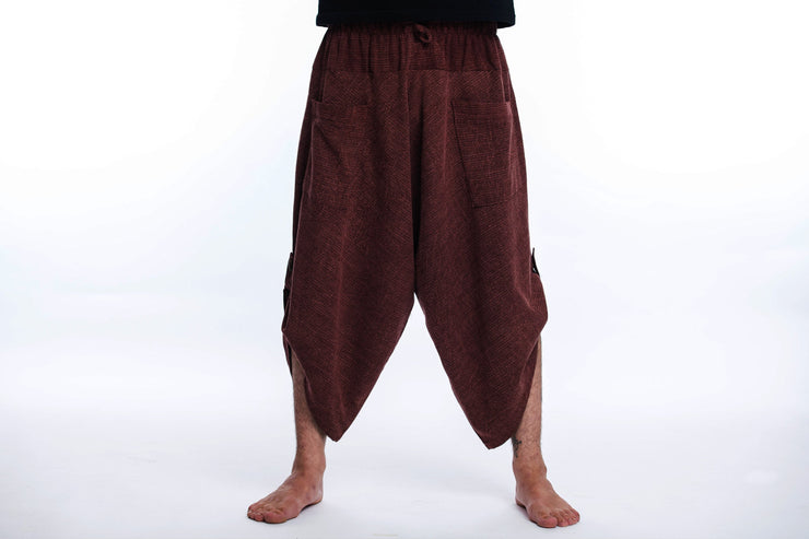 Unisex Stone Washed Large Pockets Harem Pants in Brown