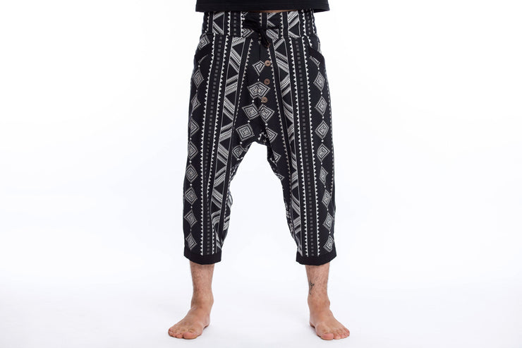 Unisex Diamonds Harem Pants with Faux Buttons in Black