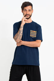 Unisex Cotton T-Shirt with Tribal Pocket in Navy