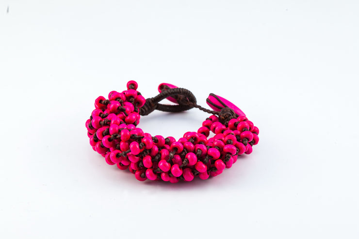 Torsade Wooden Beads Bracelet in Pink