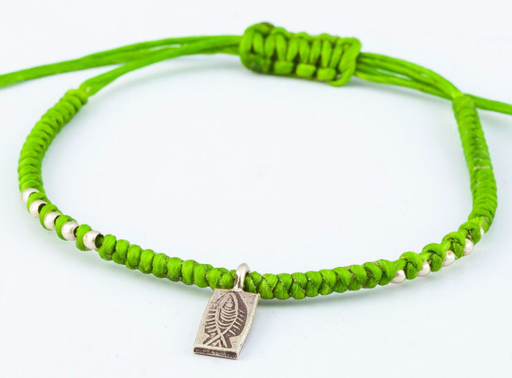 Braided Waxed String Bracelet with Silver Fish Charm in Lime