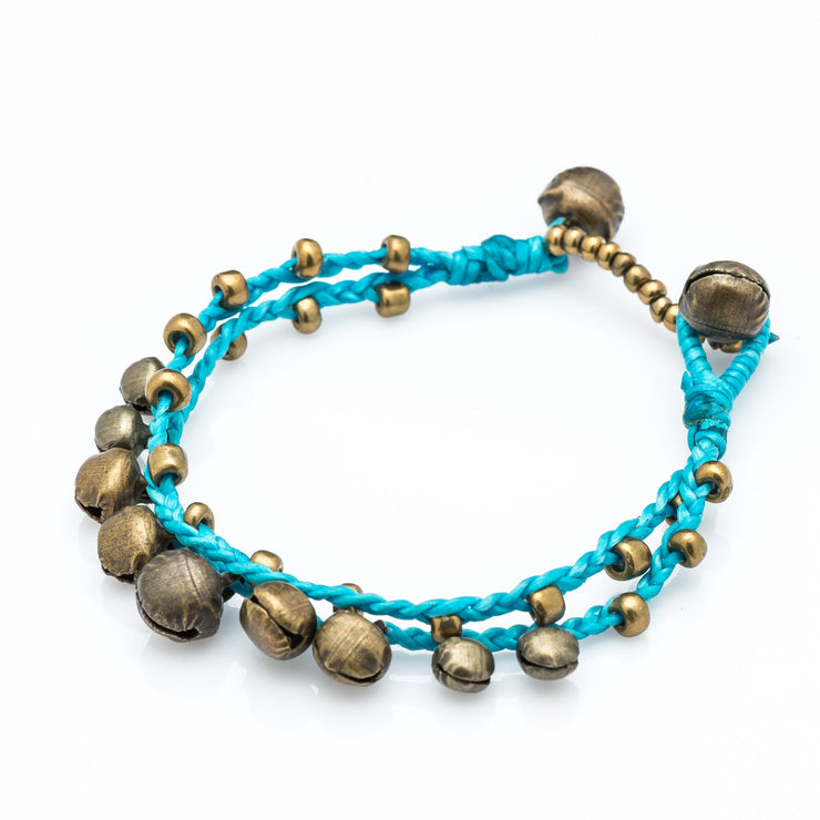 Brass Beads Bracelet with Brass Bells in Turquoise