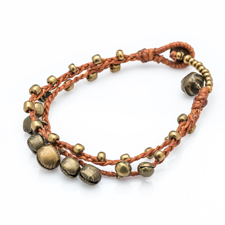 Brass Beads Bracelet with Brass Bells in Copper