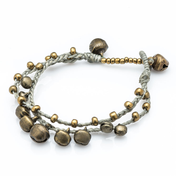 Brass Beads Bracelet with Brass Bells in Gray