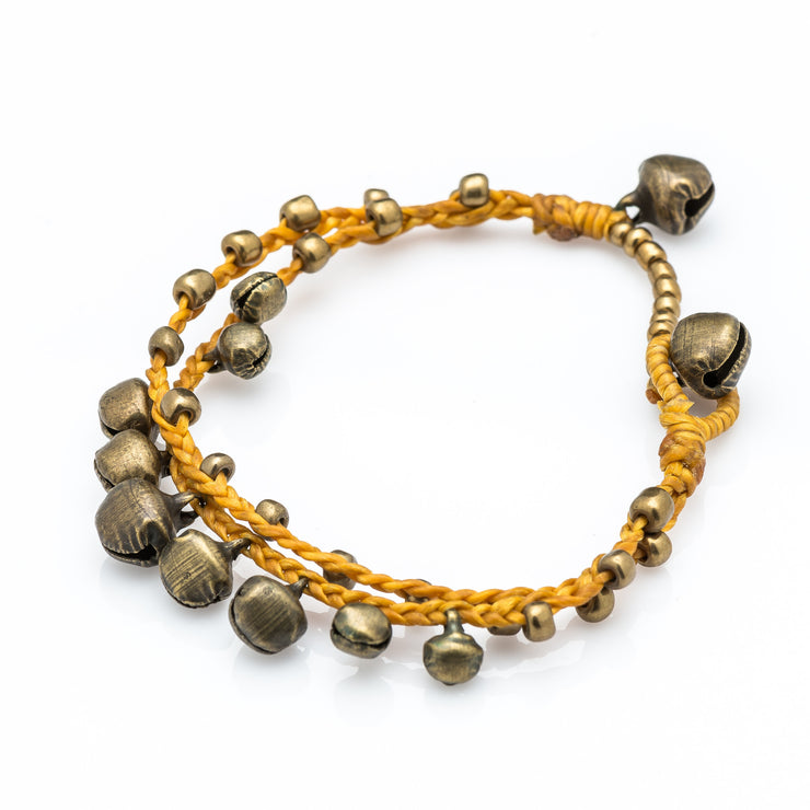 Brass Beads Bracelet with Brass Bells in Gold