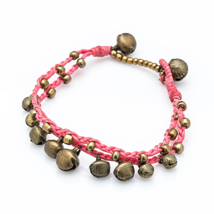 Brass Beads Bracelet with Brass Bells in Pink