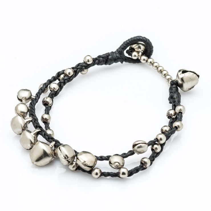 Silver Beads Bracelet with Silver Bells in Black