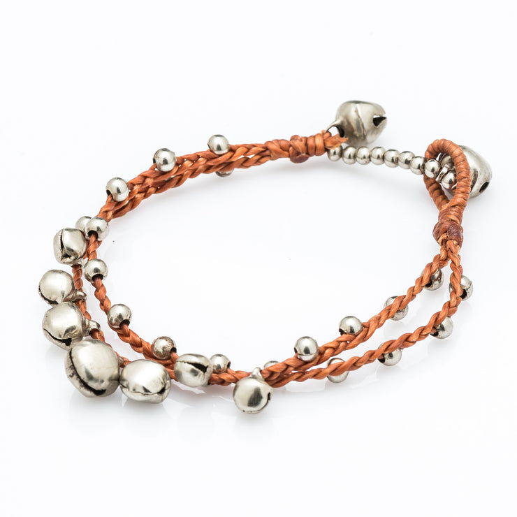 Silver Beads Bracelet with Silver Bells in Copper