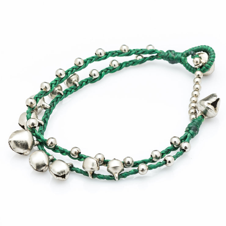 Silver Beads Bracelet with Silver Bells in Green