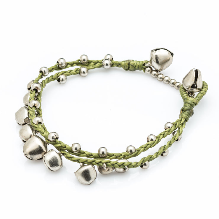 Silver Beads Bracelet with Silver Bells in Lime