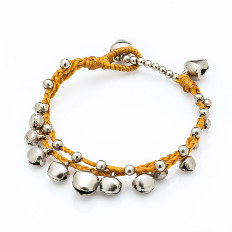 Silver Beads Bracelet with Silver Bells in Gold