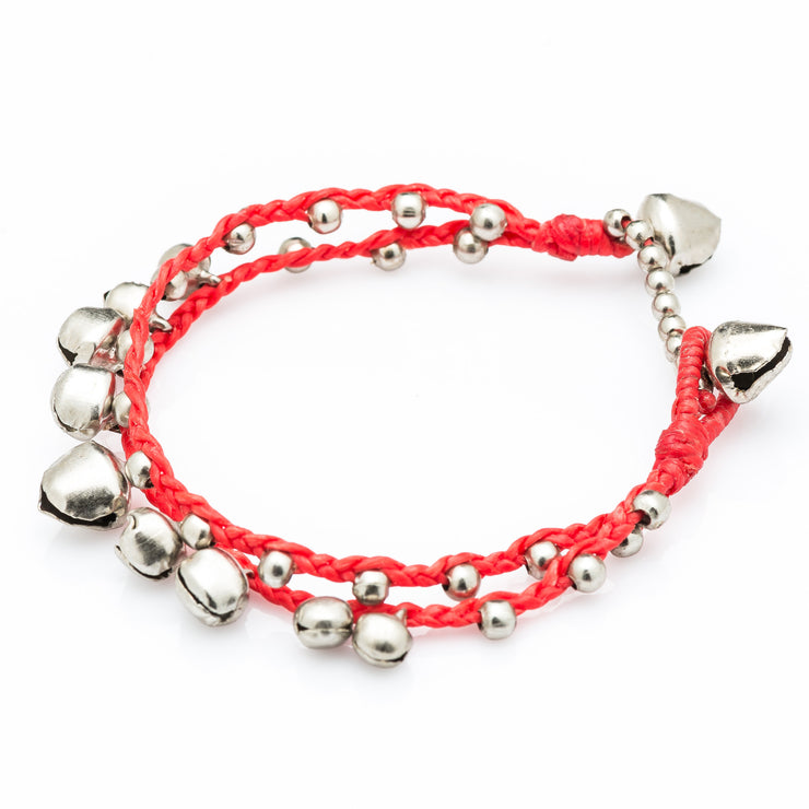 Silver Beads Bracelet with Silver Bells in Red