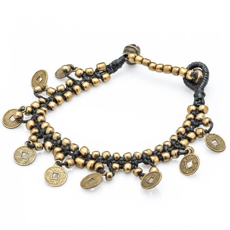 Brass Beads Bracelet with Brass Coins in Black