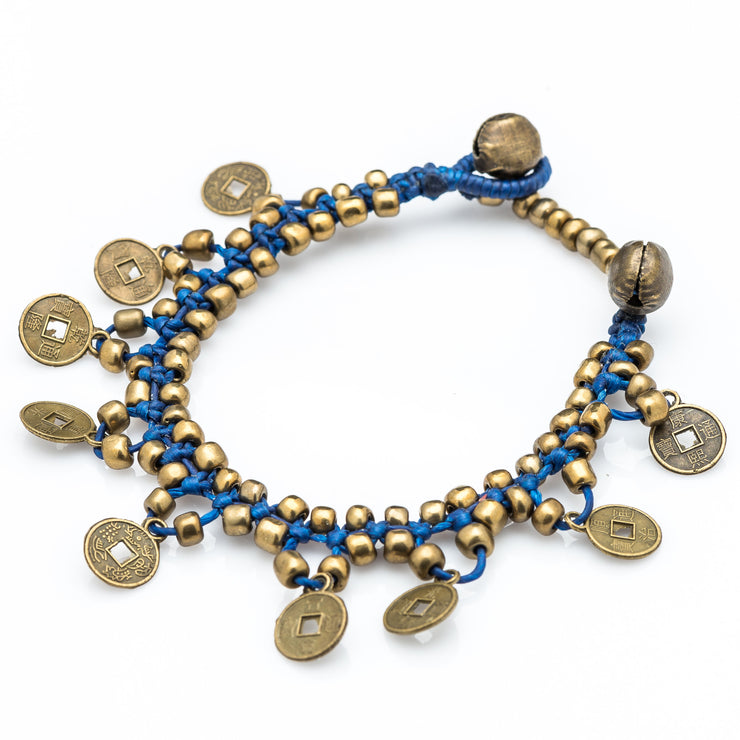 Brass Beads Bracelet with Brass Coins in Blue