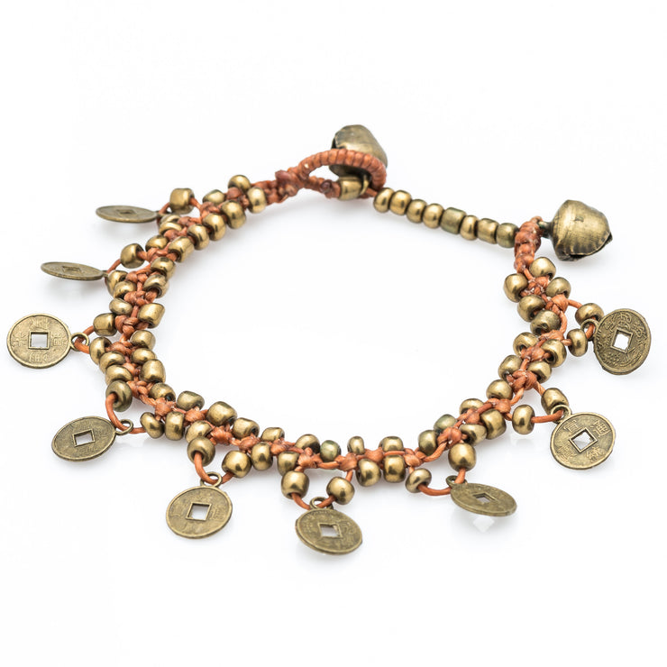 Brass Beads Bracelet with Brass Coins in Copper