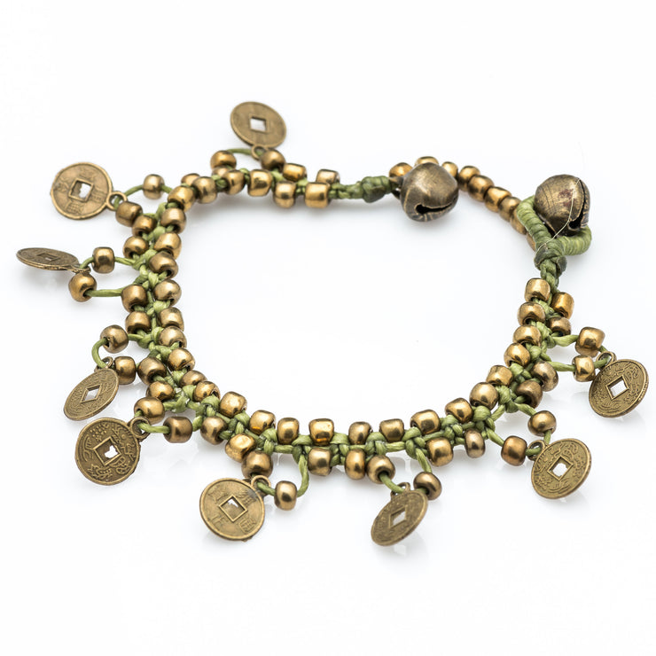 Brass Beads Bracelet with Brass Coins in Lime