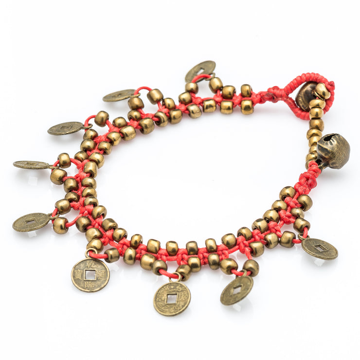 Brass Beads Bracelet with Brass Coins in Red