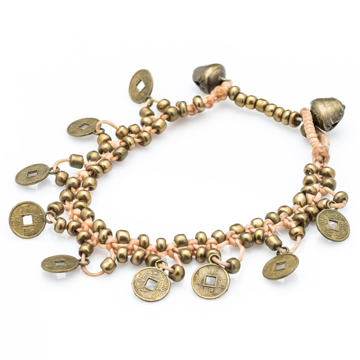 Brass Beads Bracelet with Brass Coins in Tan