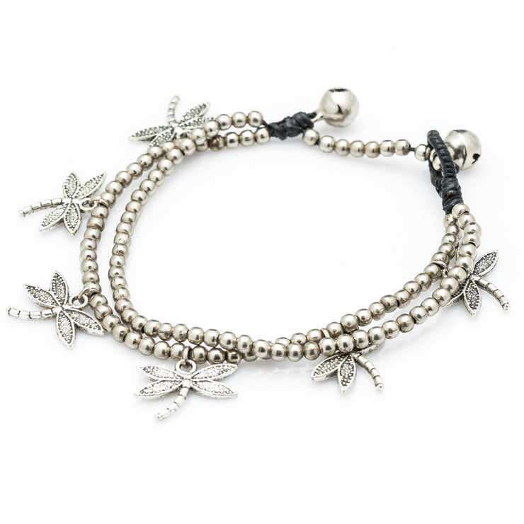 Double Strand Silver Beads Bracelet with Dangling Dragonfly Charms