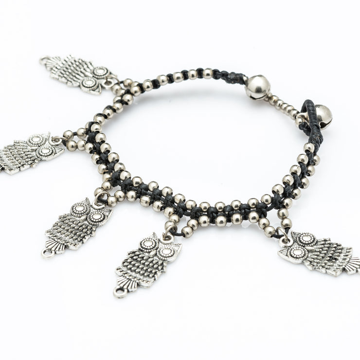 Silver Beads Bracelet with Dangling Owl Charms