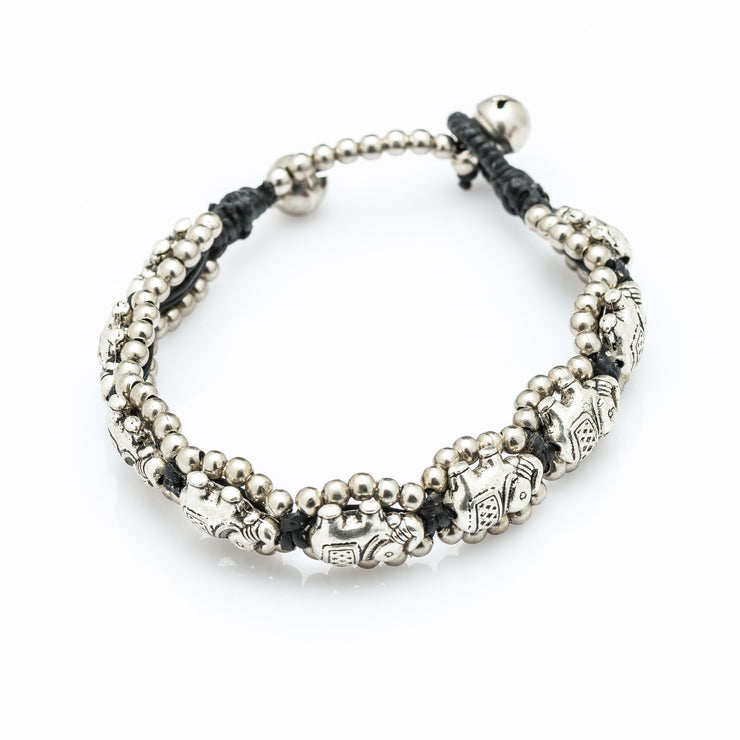 Silver Beads Bracelet with Elephant Charms