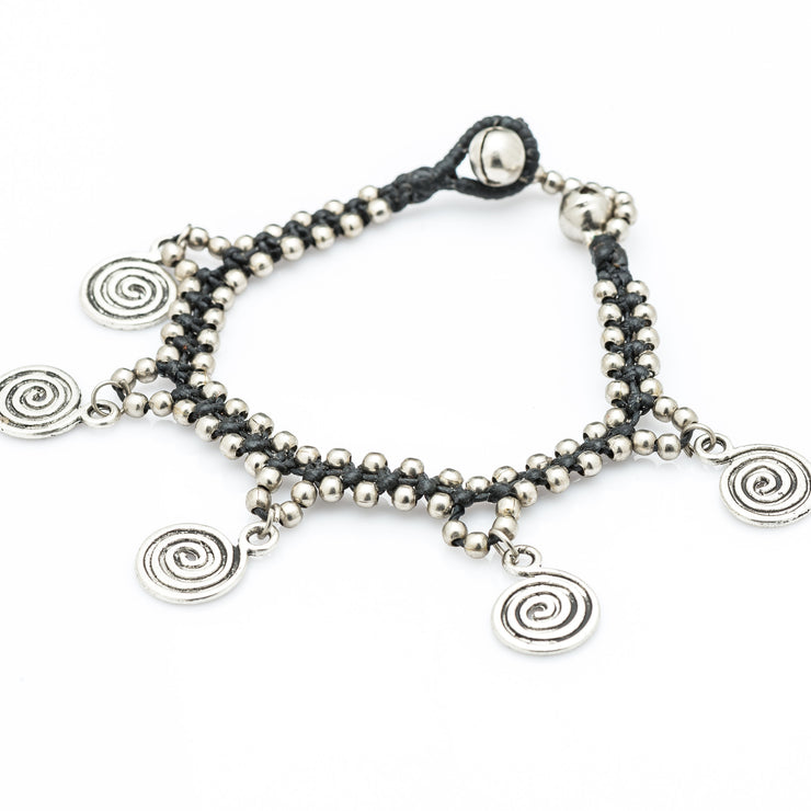 Silver Beads Bracelet with Dangling Spiral Charms