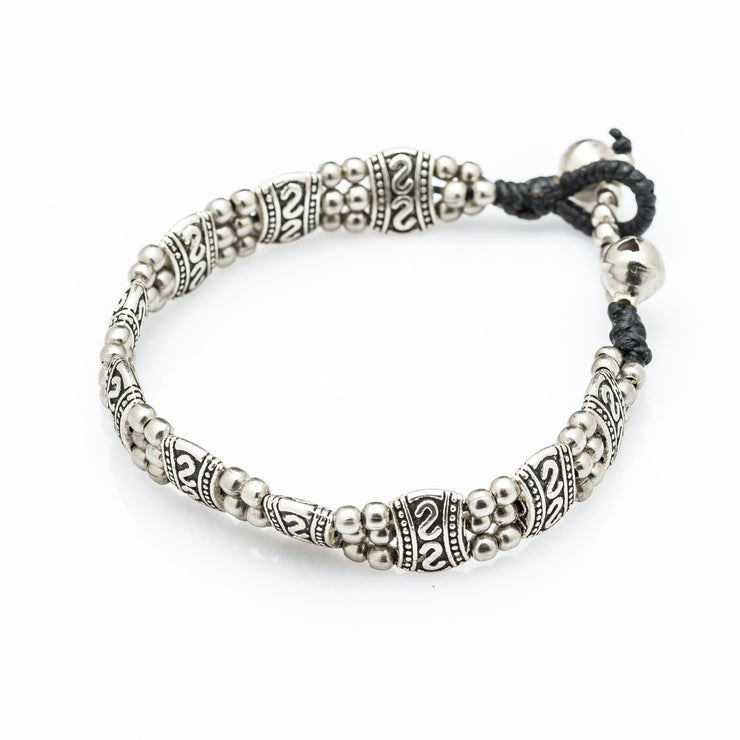 Silver Beads Bracelet with Tribal Charms