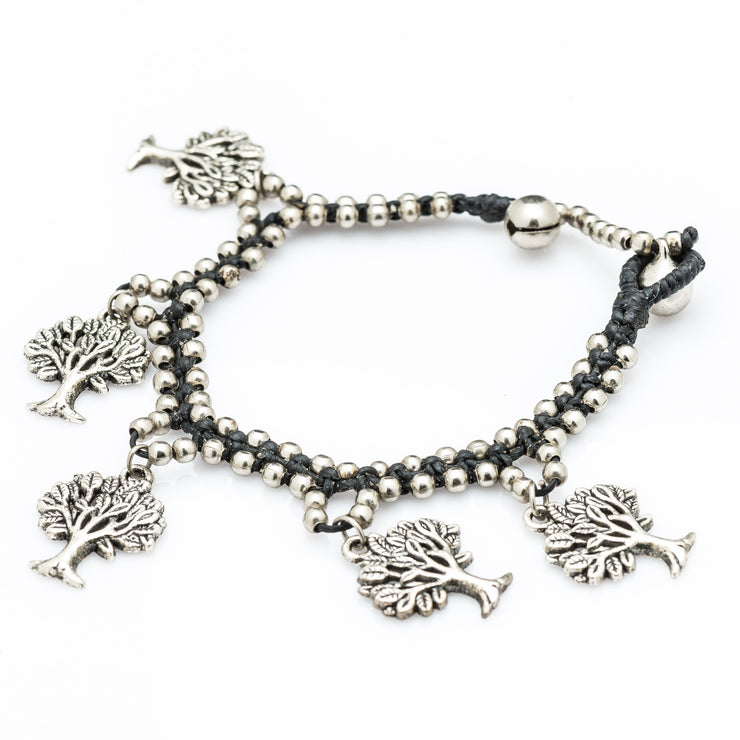 Silver Beads Bracelet with Dangling Tree of Life Charms