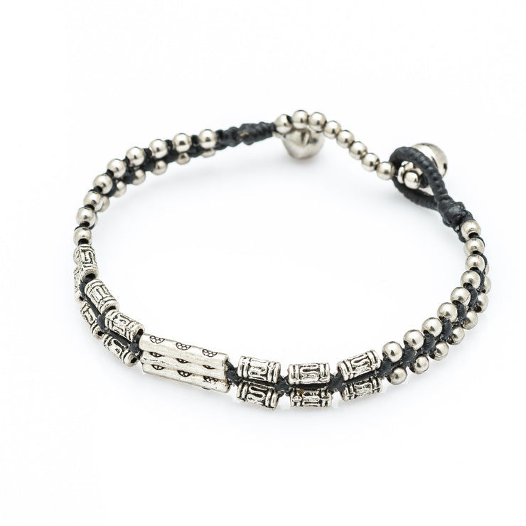 Hill Tribe Silver Color Bead And Charm Bracelets 12