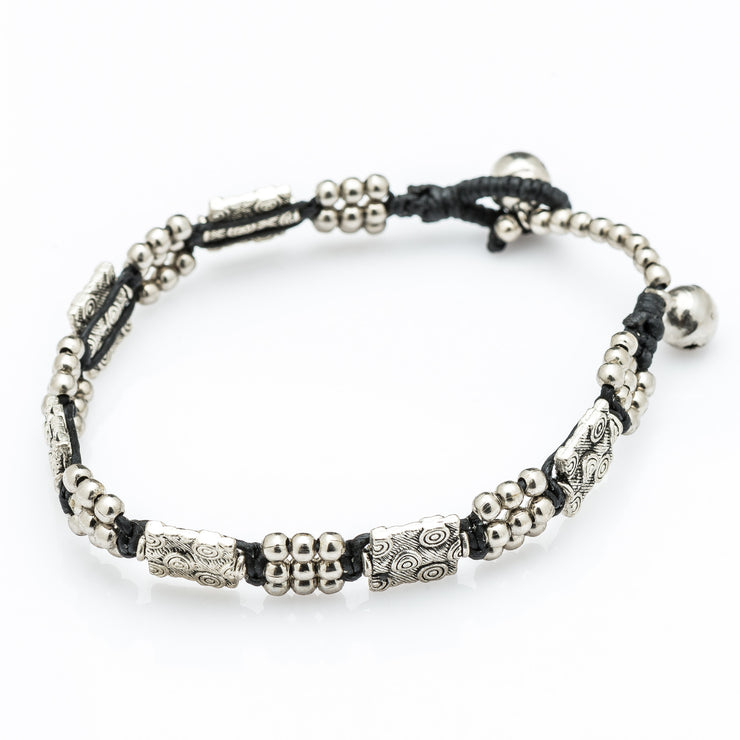 Silver Beads Bracelet with Tribal Plate Charms