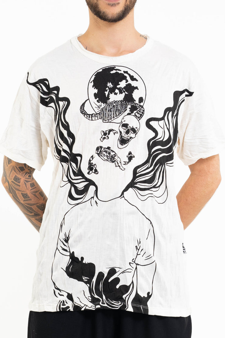 Mens Space Man T-Shirt in White