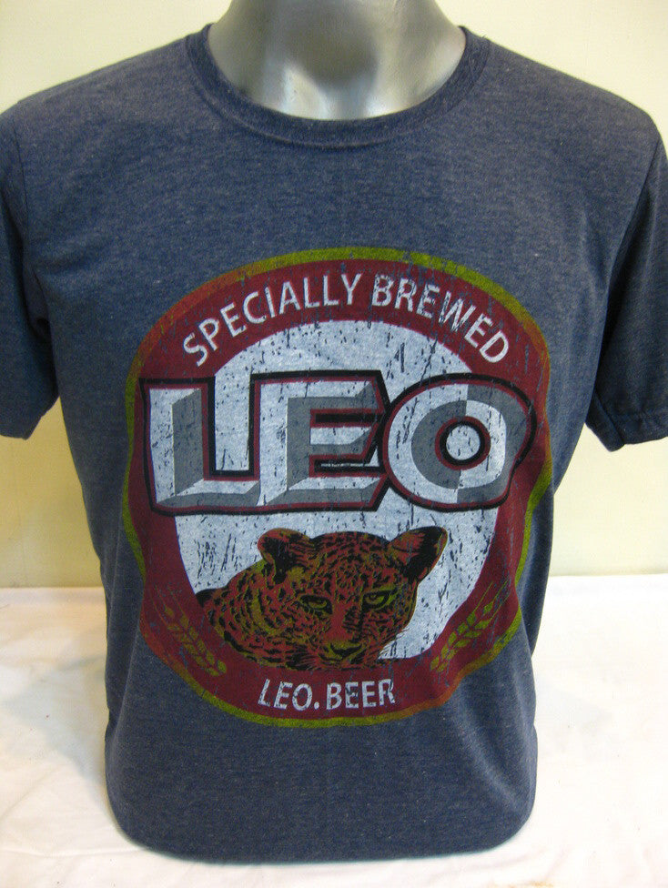 Vintage Style Leo Beer T-Shirt in Denim Blue