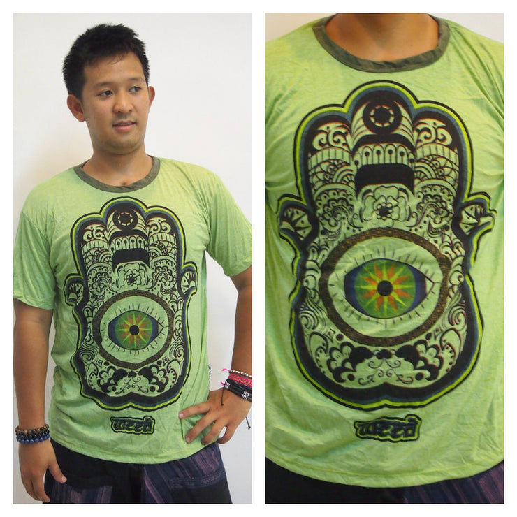 Mens Hamsa Eye Power T-Shirt in Green
