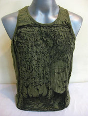 Mens Buddha Sanskrit Tank Top in Green