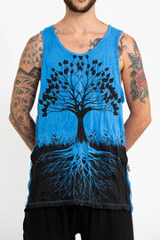 Mens Tree of Life Tank Top in Blue