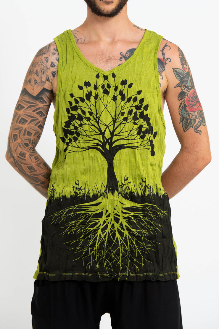 Mens Tree of Life Tank Top in Lime