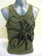 Mens Octopus Tank Top in Green