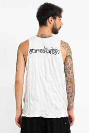 Mens Om and Koi Fish Tank Top in White