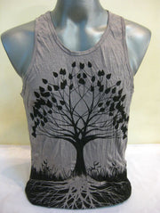 Mens Tree of Life Tank Top in Gray