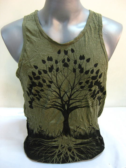 Mens Tree of Life Tank Top in Green