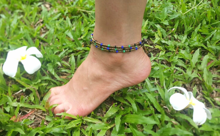 Triple Strands Brass and Color Beads Anklets in Aqua