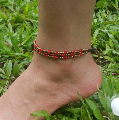 Triple Strands Brass and Color Beads Anklets in Red