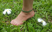 Triple Strands Brass and Color Beads Anklets in Green