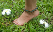 Brass Beads Anklet with Brass Coins in Turquoise